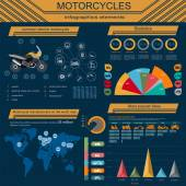 Set of motorcycles elements, transportation infographics — Wektor stockowy