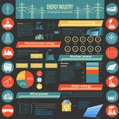 Bränsle och energi industri infographic, uppsättning element för att skapa — Stockvektor