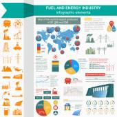 Fuel and energy industry infographic, set elements for creating — ストックベクタ