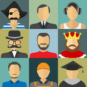 Set of flat style male characters — Stock Vector
