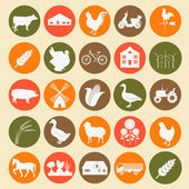 Set agriculture, animal husbandry icons — Vecteur