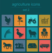 Set agriculture, animal husbandry icons — Stock Vector