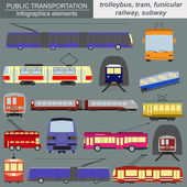 Public transportation infographics. Tram, trolleybus,subway — Stock Vector