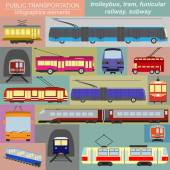 Public transportation infographics. Tram, trolleybus, subway — Stock Vector
