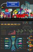 Passenger car, transportation infographics — Stock Vector
