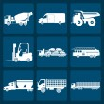 Постер, плакат: Set of nine icons of trucks