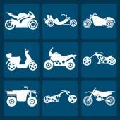 Set of nine icons of motorbikes — Stock Vector