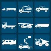 Set of nine icons of trucks — Stock Vector