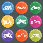 Набор из девяти икон Мотоциклы — Cтоковый вектор