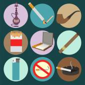 Smoking and accessories icons set — Stock Vector