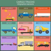 Set of elements cargo transportation: trucks, lorry for creating — Stock Vector