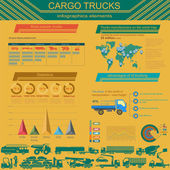 Cargo transportation infographics, trucks, lorry. Elements infog — Stock Vector