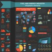 Fuel and energy industry infographic, set elements for creating — Stockvektor
