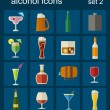 Alcohol drinks icons. 16 flat icons set — Stock Vector #54618643