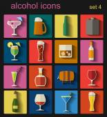 Alcohol drinks icons. 16 flat icons set — Stock Vector