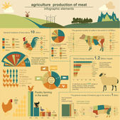 Agriculture, animal husbandry infographics, Vector illustrations — Stock Vector