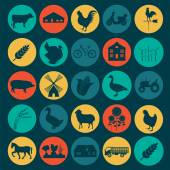 Set agriculture, animal husbandry icons. — Stock Vector