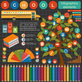 Education school infographics. Set elements for creating your ow — Stock Vector