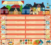 House repair infographic, set elements — Stock Vector