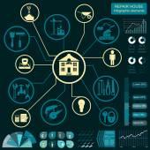 House repair infographic, set elements — Vettoriale Stock