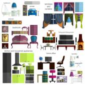 House remodeling infographic. Set flat interior elements for cre — Vecteur