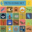 Domestic pets and vet healthcare flat icons set — Stock Vector #56133979