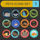 Domestic pets and vet healthcare flat icons set — Stock Vector