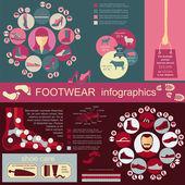 Ayakkabı infographics öğeleri. Kolayca düzenlenmiş — Stok Vektör