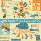 Footwear infographics elements. Easily edited — Wektor stockowy