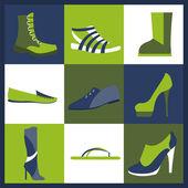 Schuhe Elemente Symbole festgelegt. Einfach bearbeitet — Stockvektor