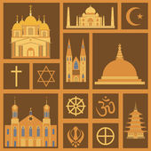 Religion icon set — Vector de stock