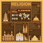 Religion infographics — 图库矢量图片