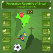 Brazil infographics, statistical data, sights — Vettoriale Stock