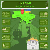 Ukraine infographics, statistical data, sights. Vector illustration — Stock Vector