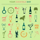 Alcohol drinks icons. 16 flat icons set. Vector illustration — Stock Vector
