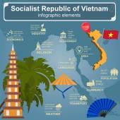 Vietnam  infographics, statistical data, sights — Stock Vector