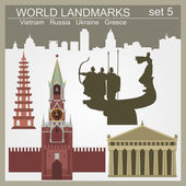 World landmarks icon set. Elements for creating infographics — Stock Vector