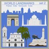 World landmarks icon set. Elements for creating infographics — Stock Vector