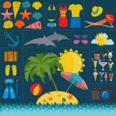 Travel. Vacations. Beach resort set icons. Elements for creating — Stock Vector