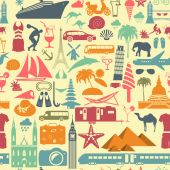 Travel background. Vacations. Beach resort seamless pattern — Wektor stockowy