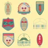 Set of vintage fashion and clothes style logos. Vector logo temp — Stock Vector