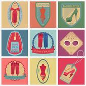 Conjunto de logotipos vintage de estilo de moda y ropa. Temperatura de Vector logo — Vector de stock