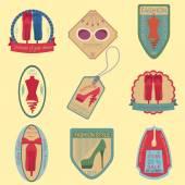 这套复古时尚和衣服样式标识。矢量标志 temp — 图库矢量图片