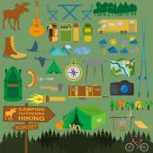 Set camping icon, hiking, outdoors — Stock Vector