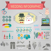 Set of vintage wedding, fashion style and travel infographic ele — Stock Vector