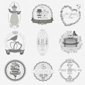 Set of vintage wedding and wedding fashion style logos. Vector l — Stockvector