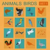 Birds icon set. Vector flat style. Vector illustration — Stock Vector