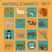 Animals mammals icon set. Vector flat style. Vector illustration — Stock Vector