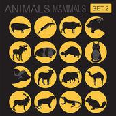 Animals mammals icon set. Vector flat style — Stock Vector