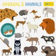 Постер, плакат: Animals mammals icon set Vector flat style